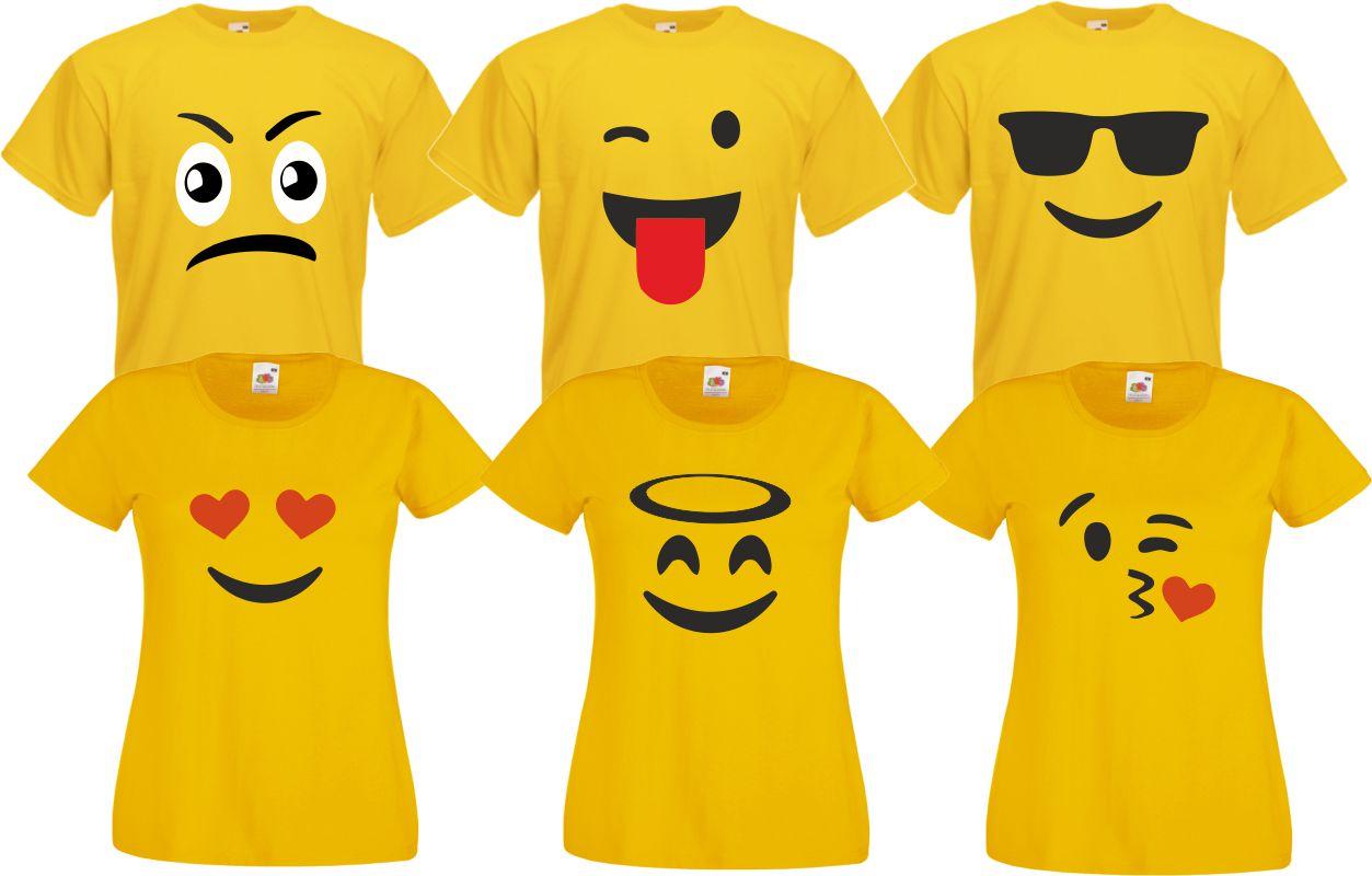 Für Emoji Fans T-Shirt Gruppenkostüm Familien Kostü Paarkostüm Karneval Fasching