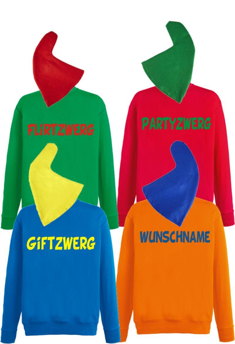 Zwergenkostüm Gruppenkostüm Sweatshirt Mütze Wunschname Karneval Zwerg
