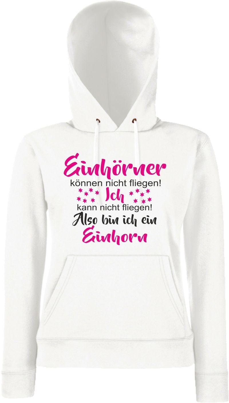 Einhorn Damen Hoodie Einhörner Regenborgen Pulli Ladie Sweater Kult-Klamotten