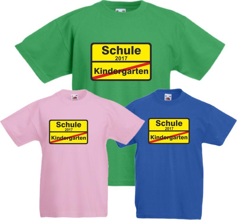 Einschulung Kinder T-Shirt Schule Ortsschild KIGA ABC Schütze Schultüte Geschenk
