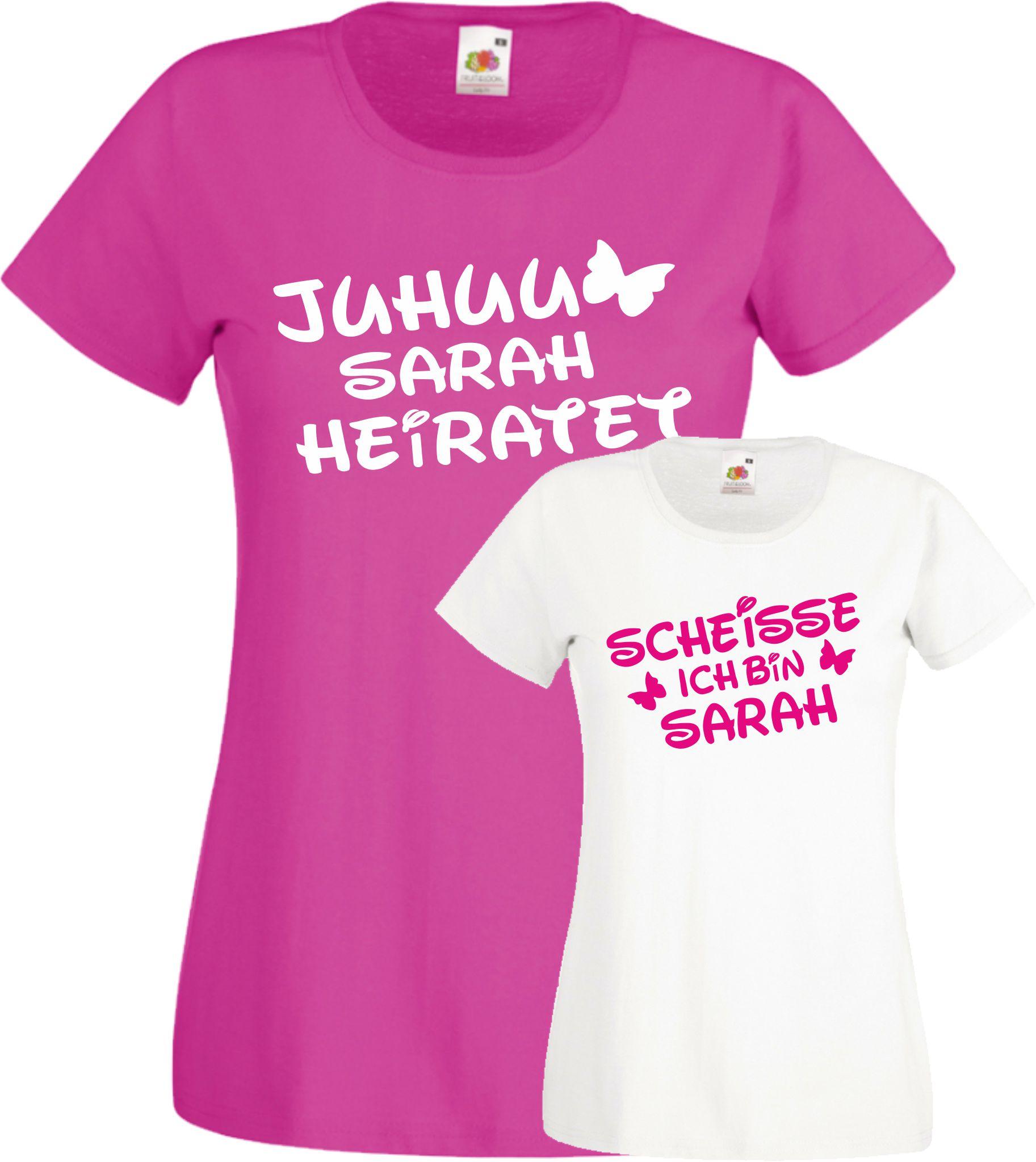Juhu Wunschname heiratet süßes Jga TShirts Damen Shirt Braut Hochzeit Fun